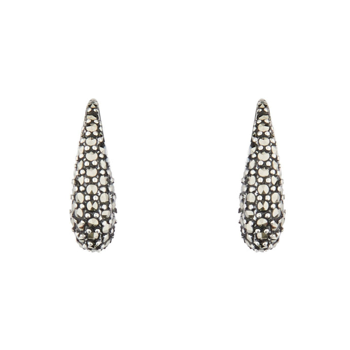 Wellington_&_North_Art_Deco_Jewellery_Meredith_Marcasite_925_Sterling_Silver_Small_Huggie_Earrings_Front_View