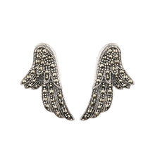 Load image into Gallery viewer, Wellington_&_North_Art_Deco_Jewellery_Stevie_Marcasite_925_Sterling_Silver_Angel_Wing_Earrings