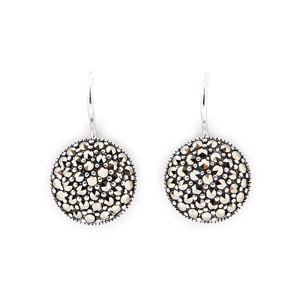 Tori: Marcasite and Sterling Silver Round Drop Earrings