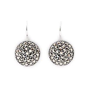 Tori: Round Drop Earrings in Marcasite and Sterling Silver