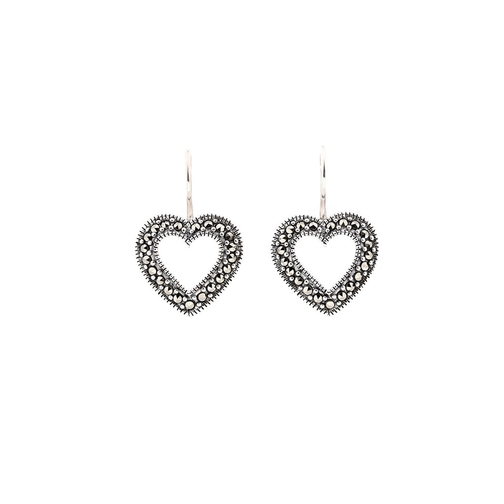 Olivia: Marcasite and Sterling Silver Heart Earrings