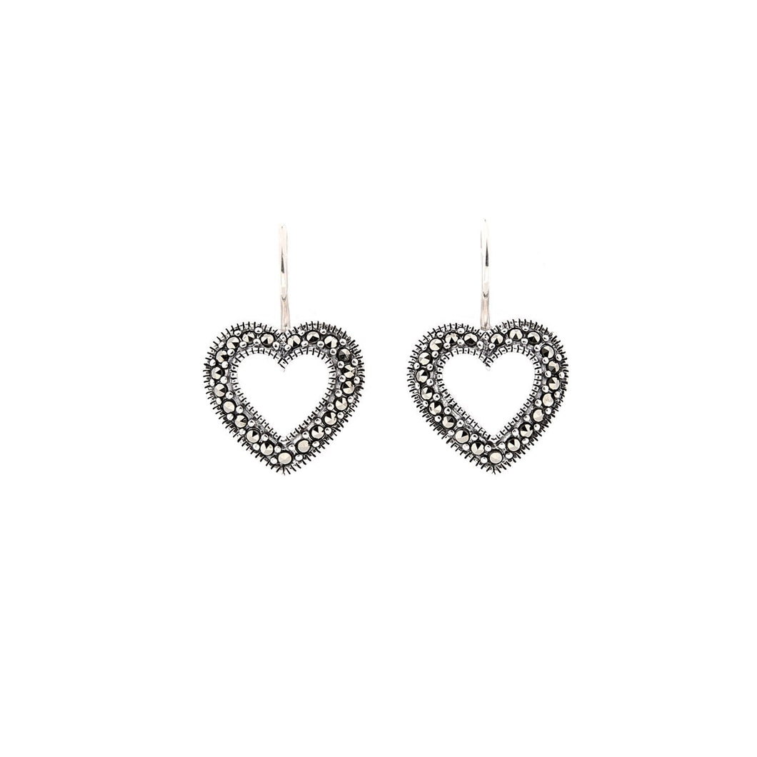 Olivia: Art Deco Heart Earrings in Marcasite and Sterling Silver