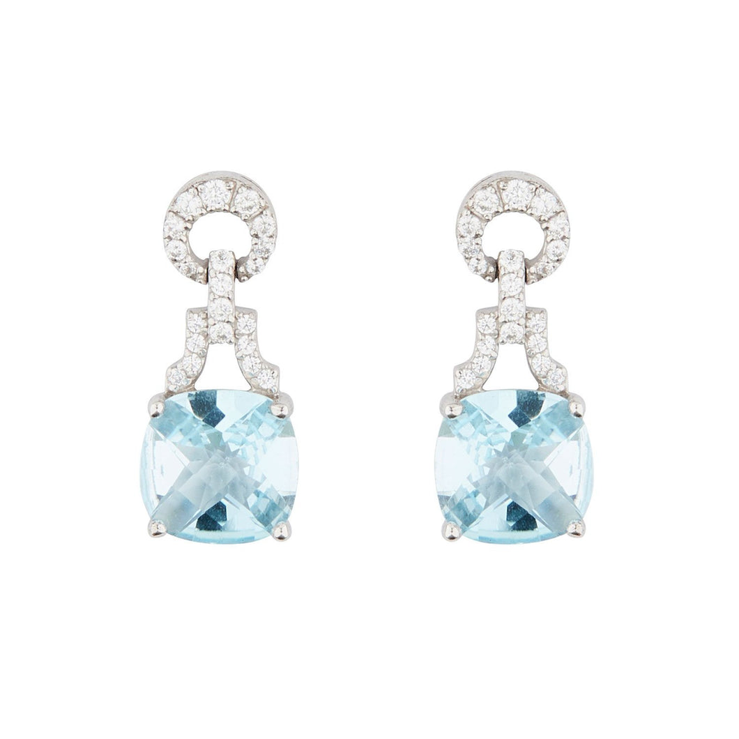 Wellington_&_North_Art_Deco_Jewellery_Rosalind_Cushion_Cut_Blue_Topaz_Cubic_Zirconia_925_Sterling_Silver_Drop_Earrings