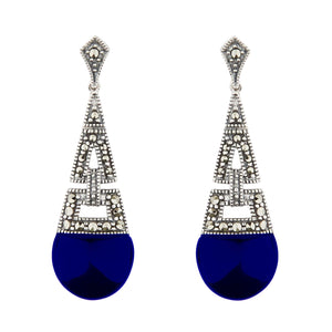 Ella: Art Deco Drop Earrings in Synthetic Lapis Lazuli, Marcasite and Sterling Silver