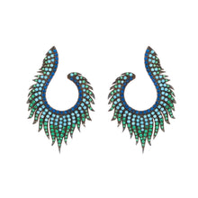 Load image into Gallery viewer, Angelina: Peacock Earrings in Turquoise, Cubic Zirconia and Rose Gold