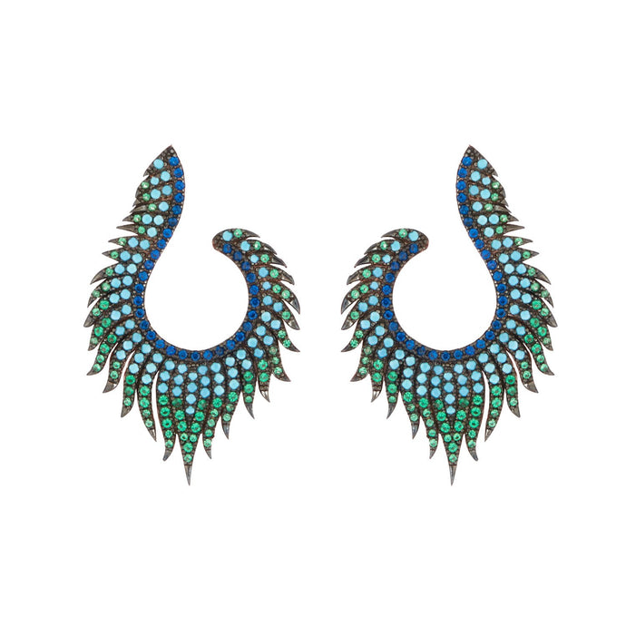 Angelina: Peacock Earrings in Turquoise, Cubic Zirconia and Rose Gold