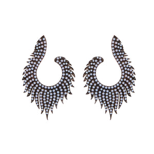 Godiva: Statement Earrings in White Agate and Sterling Silver