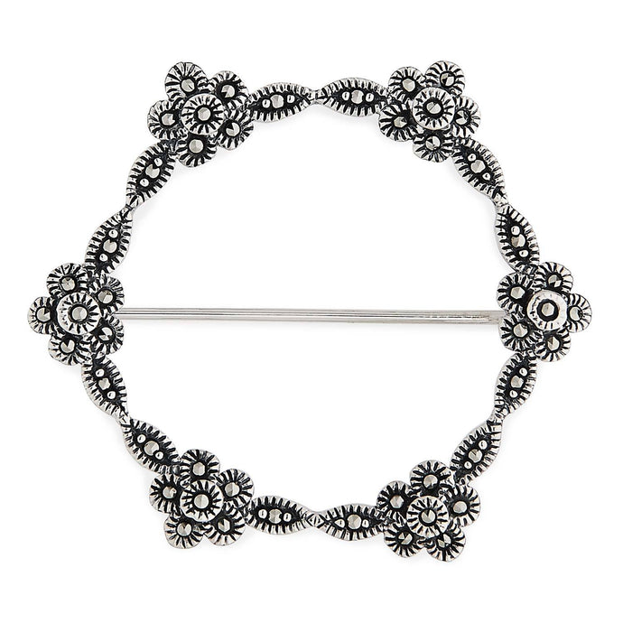 Flora: Art Nouveau Circle of Flowers Brooch in Marcasite and Sterling Silver