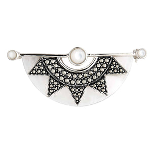 Gilda: Art Deco Sunburst Brooch in Mother of Pearl, Marcasite and Sterling Silver