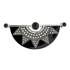 Gilda: Art Deco Sunburst Brooch in Black Onyx, Marcasite and Sterling Silver
