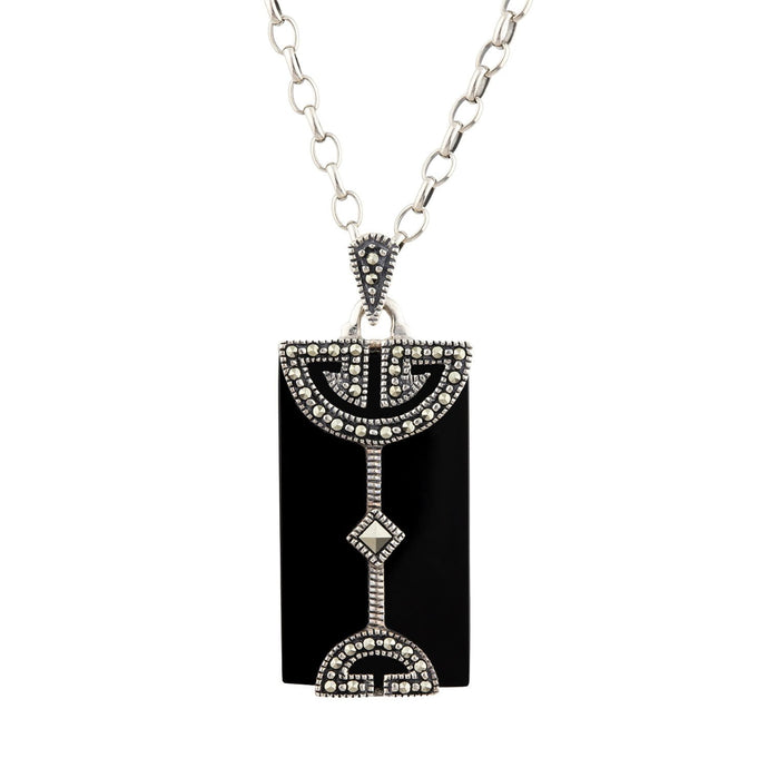 Hannah: Art Deco Pendant in Black Onyx, Marcasite and Sterling Silver