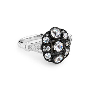 Isadora: Georgian Style Cluster Ring in Old Cut Cubic Zirconia and Sterling Silver