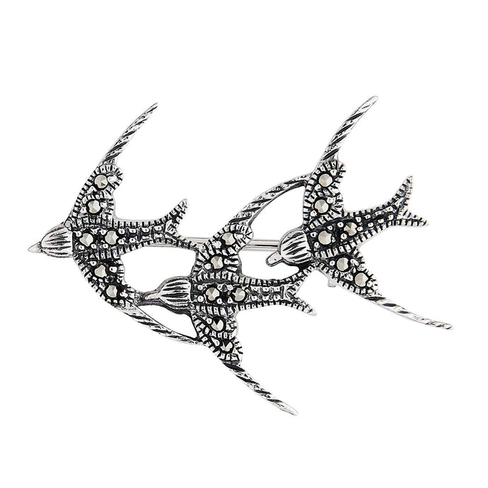 Joni: Vintage Design Three Swallows Brooch in Marcasite and Sterling Silver