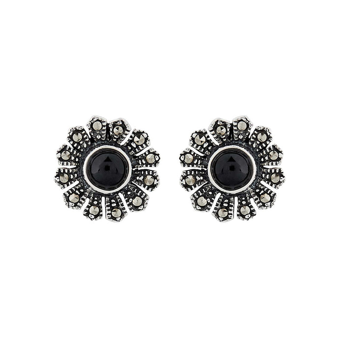 Kitty: Flower Stud Earrings in Black Onyx, Marcasite and Sterling Silver