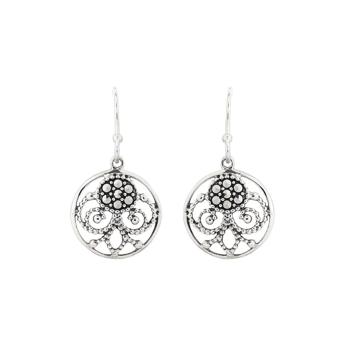 Lulu: Art Nouveau Style Filigree Drop Earrings in Marcasite and Sterling Silver