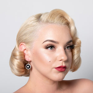 Marilyn: Art Deco Drop Earrings in Cubic Zirconia, Black Onyx and Sterling Silver