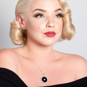 Marilyn: Art Deco Pendant Necklace in Cubic Zirconia, Black Onyx and Sterling Silver