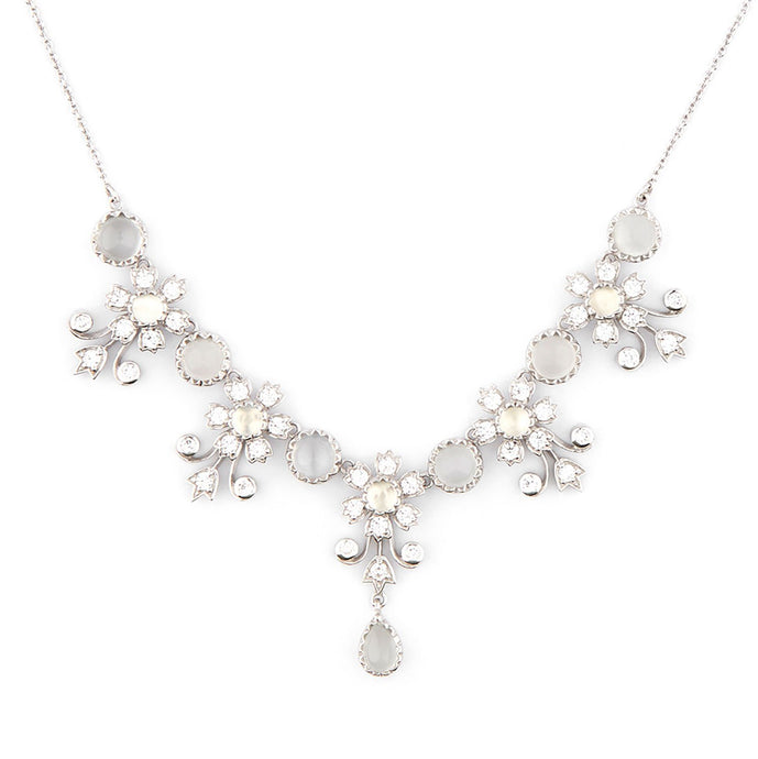 Wellington_&_North_Art_Deco_Jewellery_Ophelia_Moonstone_Cubic_Zirconia_925_Sterling_Silver_Floral_Necklace