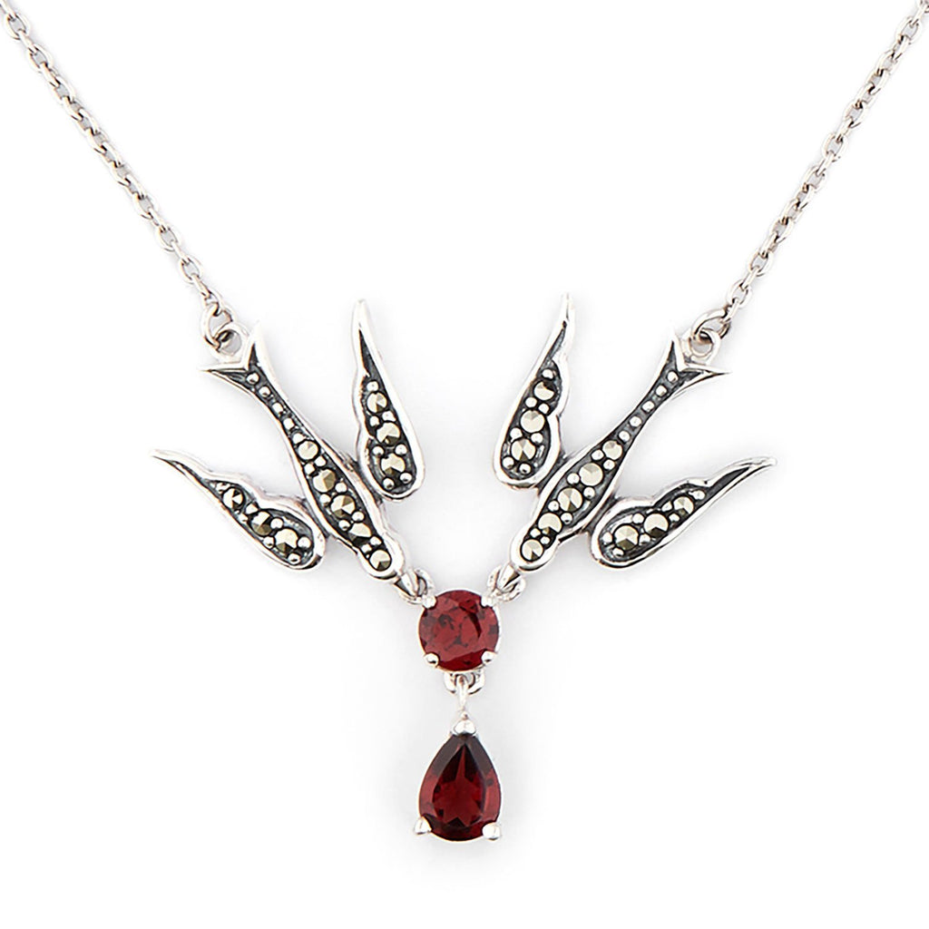 Wellington_&_North_Jewellery_Joni_Marcasite_Red_Garnet_925_Sterling_Silver_Swallow_Necklace