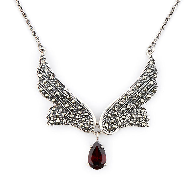 Wellington_&_North_Art_Deco_Jewellery_Stevie_Marcasite_925_Sterling_Silver_Angel_Wing_Necklace