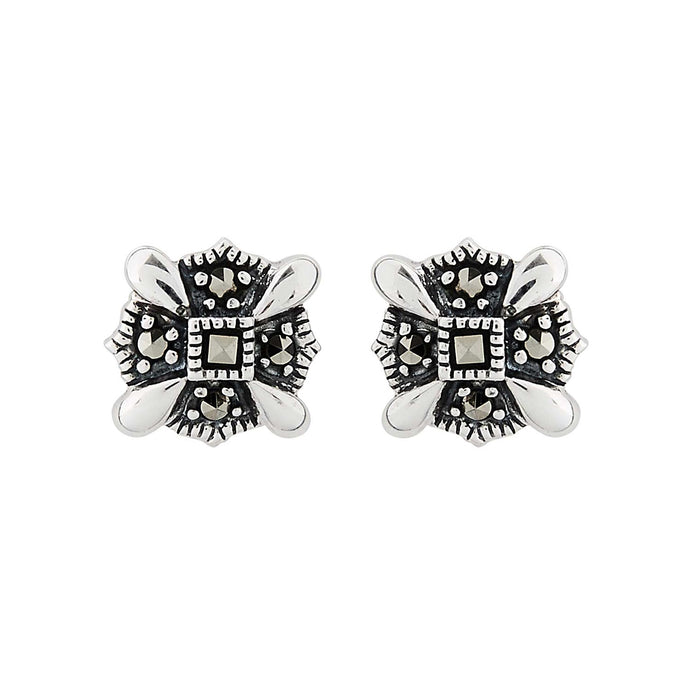 Nan: Art Deco Stud Earrings in Marcasite and Sterling Silver