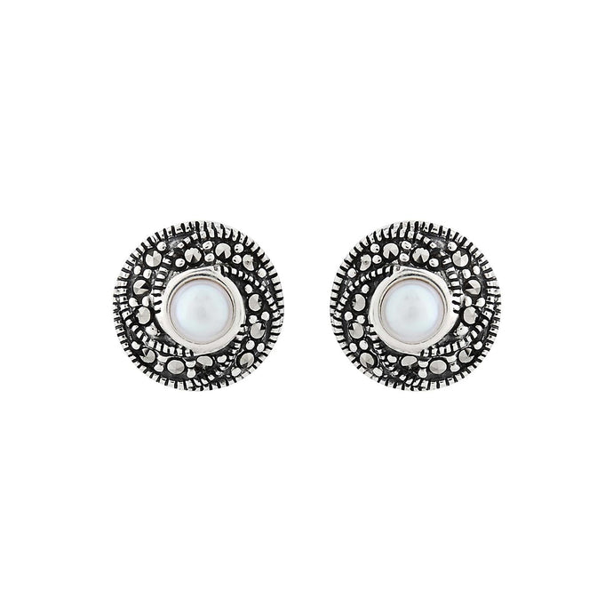 Nell: Classic Cluster Stud Earring in Pearl, Marcasite and Sterling Silver