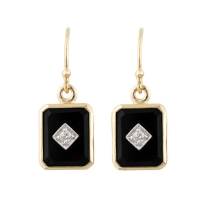 Octavia: Art Deco Style Earrings in 9ct Yellow Gold, Onyx and Diamond