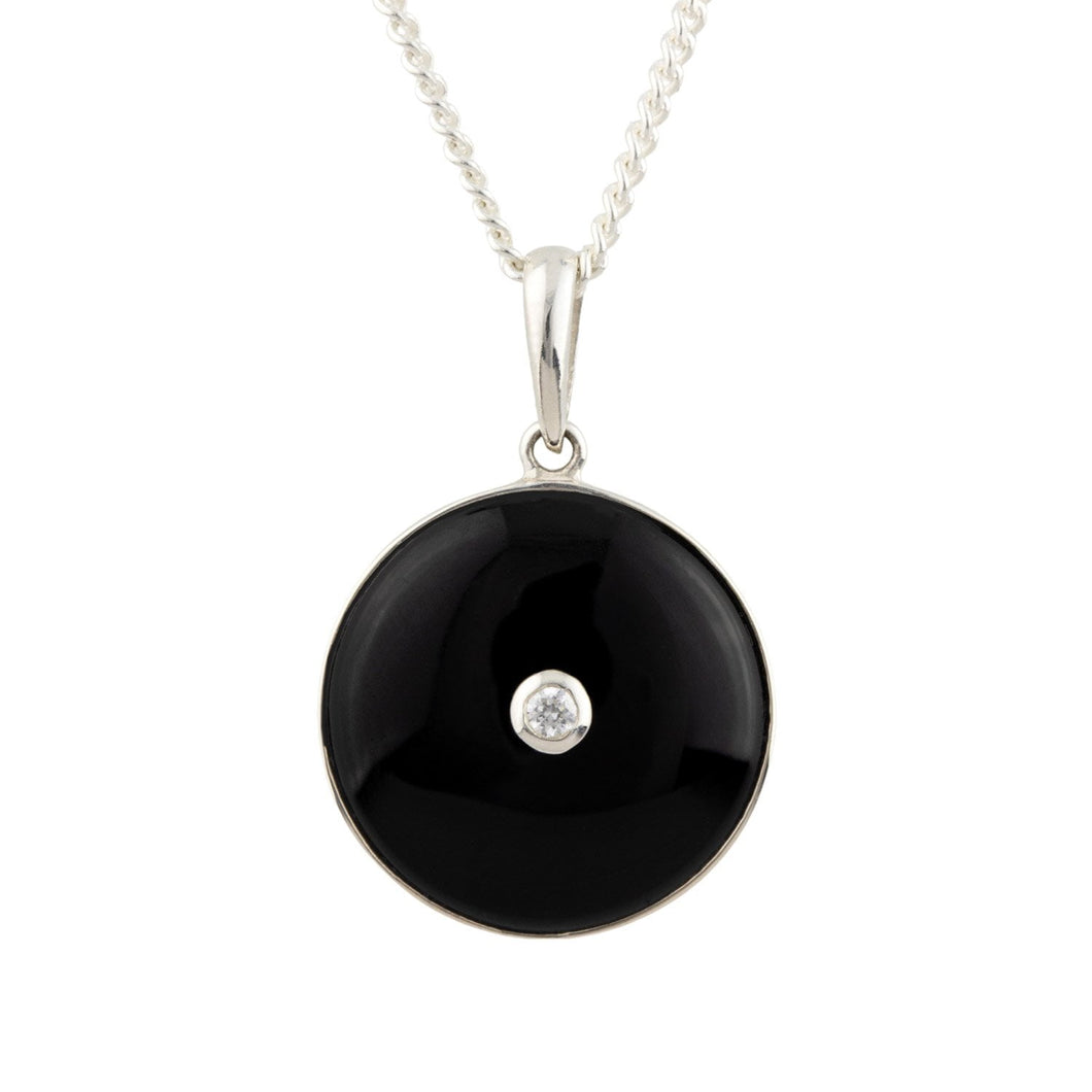 Olive: Classic Art Deco Pendant in Black Onyx, Cubic Zirconia and Sterling Silver