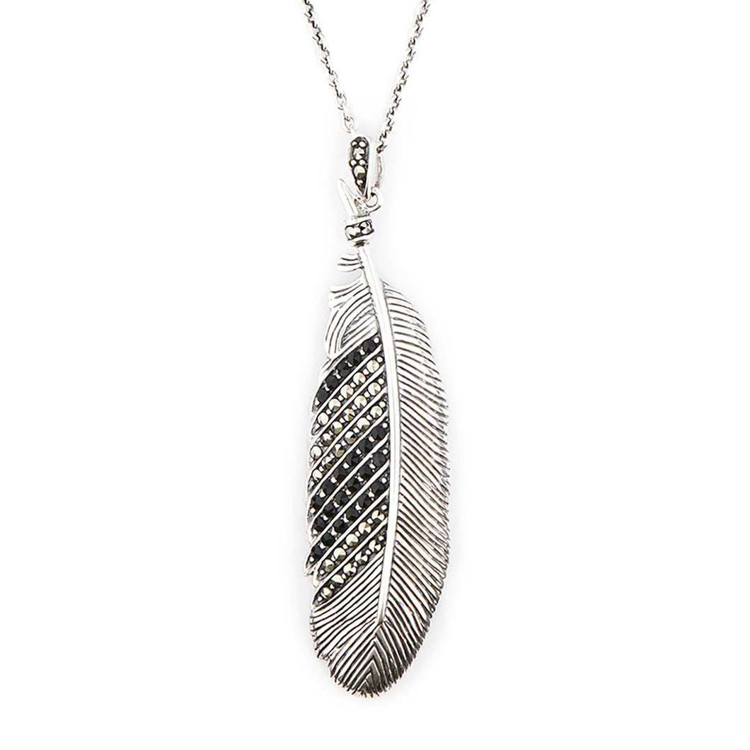 Wellington_&_North_Art_Deco_Jewellery_Hope_Marcasite_Black_Onyx_925_Sterling_Silver_Feather_Pendant_Necklace