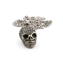 Load image into Gallery viewer, Wellington_&_North_Jewellery_Jett_Marcasite_Black_Enamel_925_Sterling_Silver_Skull_Pendant_Necklace