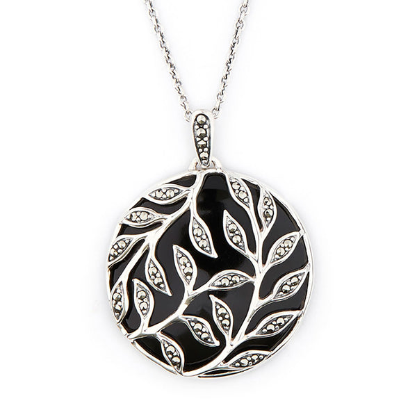 Wellington_&_North_Jewellery_Florence_Art_Deco_Black_Onyx_Marcasite_925_Sterling_Silver_Leaf_Pendant_Necklace