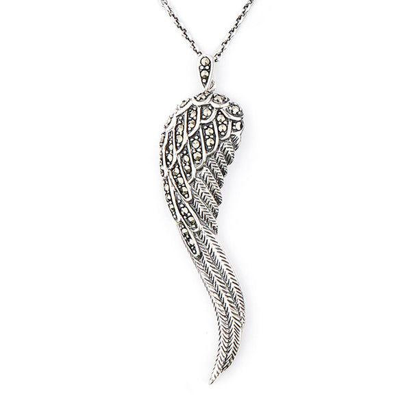 Wellington_&_North_Jewellery_Faith_Art_Deco_Marcasite_925_Sterling_Silver_Angel_Wing_Pendant_Necklace