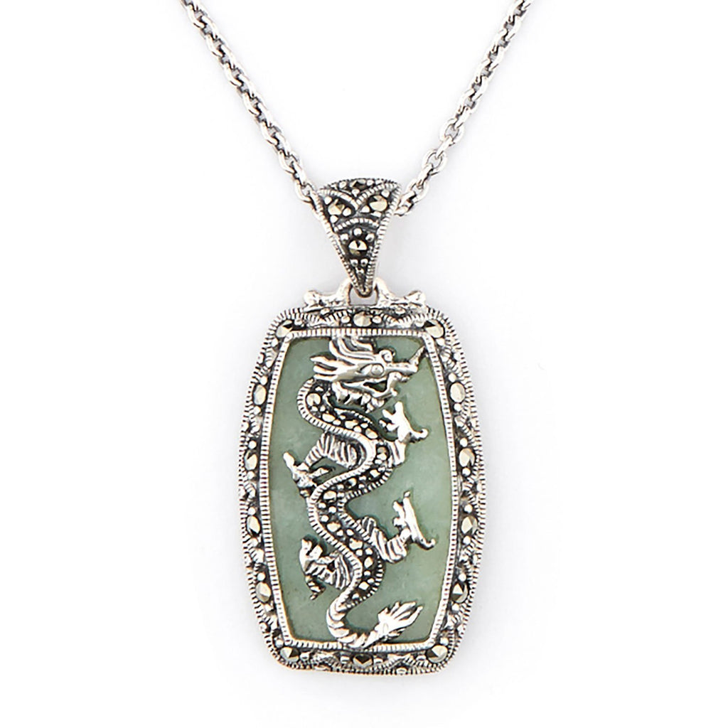 Wellington_&_North_Jewellery_Green_Dany_Art_Deco_Green_Jade_Marcasite_925_Sterling_Silver_Dragon_Pendant_Necklace