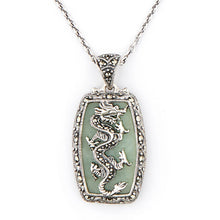 Load image into Gallery viewer, Wellington_&_North_Jewellery_Green_Dany_Art_Deco_Green_Jade_Marcasite_925_Sterling_Silver_Dragon_Pendant_Necklace