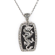 Load image into Gallery viewer, Wellington_&_North_Jewellery_Black_Dany_Art_Deco_Black_Onyx_Marcasite_925_Sterling_Silver_Dragon_Pendant_Necklace