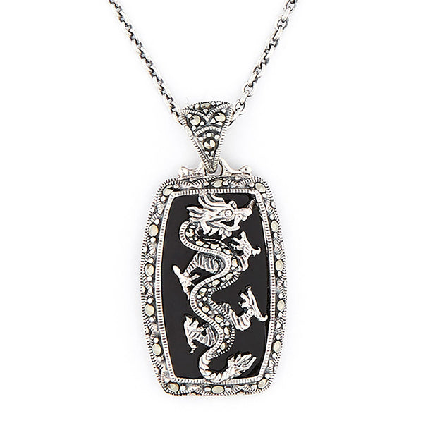Wellington_&_North_Jewellery_Black_Dany_Art_Deco_Black_Onyx_Marcasite_925_Sterling_Silver_Dragon_Pendant_Necklace
