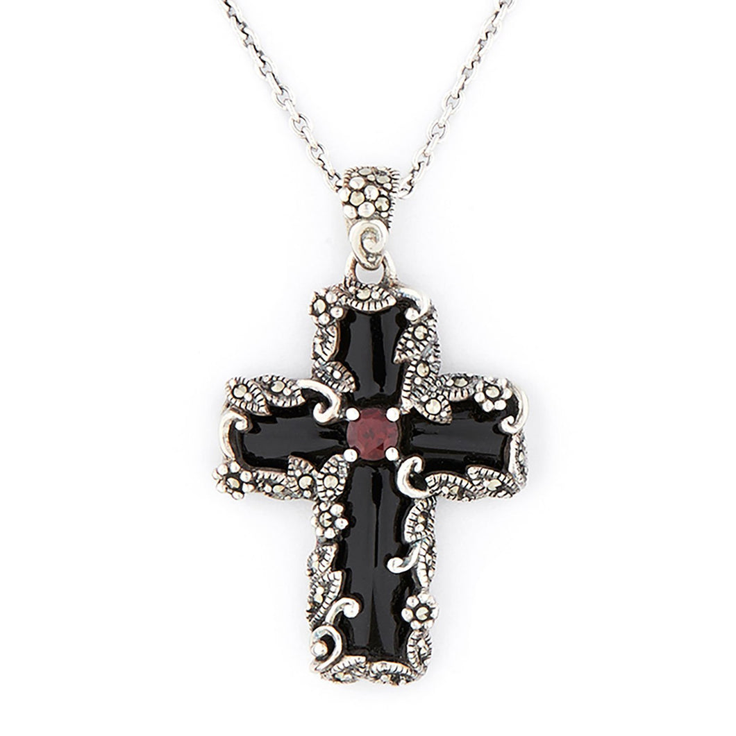 Wellington_&_North_Jewellery_Buffy_Gothic_Marcasite_Garnet_925_Sterling_Silver_Cross_Pendant_Necklace