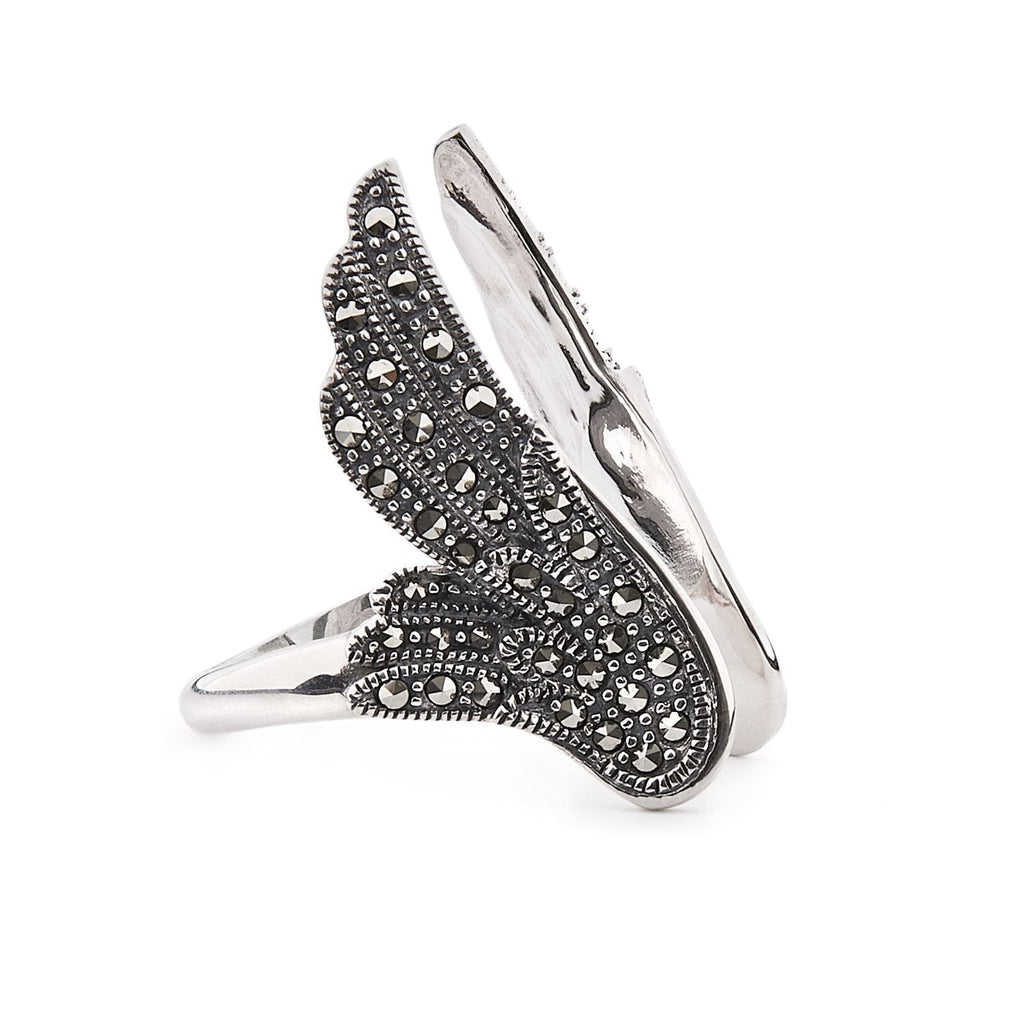 Stevie: Marcasite and Sterling Silver Angel Wing Ring