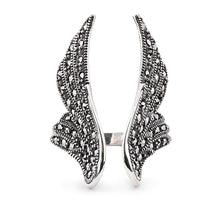 Load image into Gallery viewer, Stevie: Angel Wing Ring in Marcasite and Sterling Silver