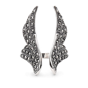 Stevie: Angel Wing Ring in Marcasite and Sterling Silver