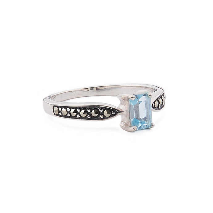 Celia: Art Deco Ring in Blue Topaz, Marcasite and Sterling Silver