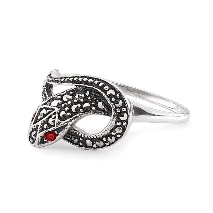 Suzi: Snake Ring in Marcasite, Garnet and Sterling Silver