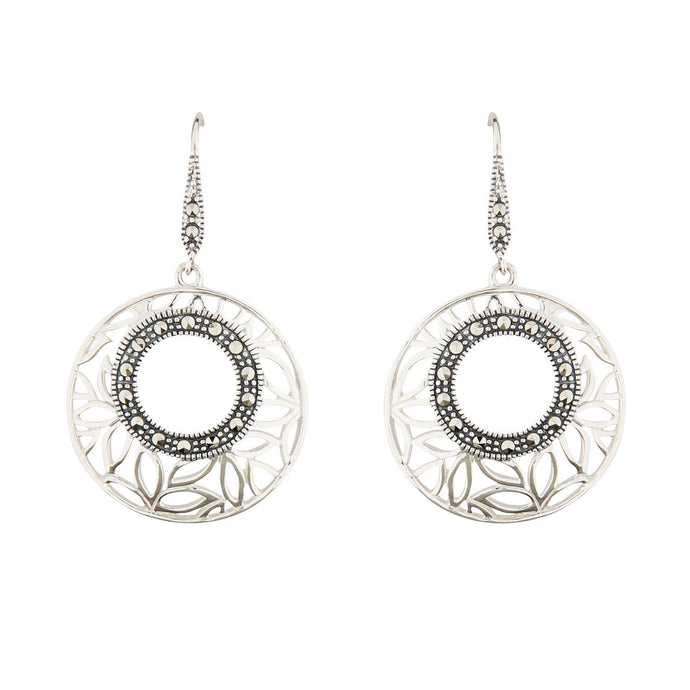 Wellington_&_North_Jewellery_Isabella_Art_Deco_Marcasite_925_Sterling_Silver_Round_Drop_Earrings