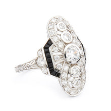 Load image into Gallery viewer, Wellington_&_North_Jewellery_Elizabeth_Art_Deco_Cubic_Zirconia-Black_Onyx_925_Sterling_Silver_Cocktail_Ring_Side_View