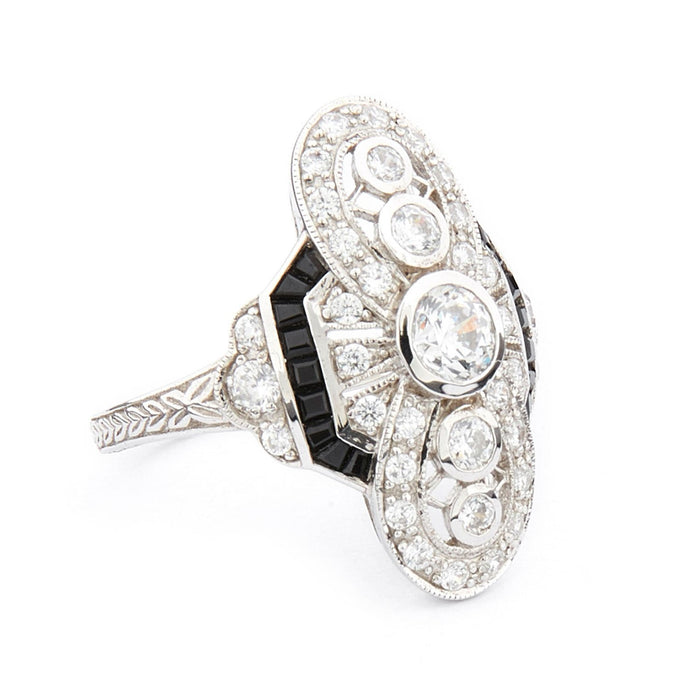Wellington_&_North_Jewellery_Elizabeth_Art_Deco_Cubic_Zirconia-Black_Onyx_925_Sterling_Silver_Cocktail_Ring_Side_View