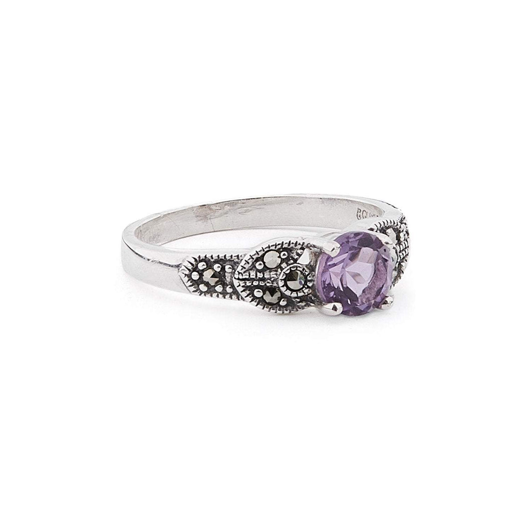Eleanor: Amethyst/Blue Topaz, Marcasite and Sterling Silver Ring