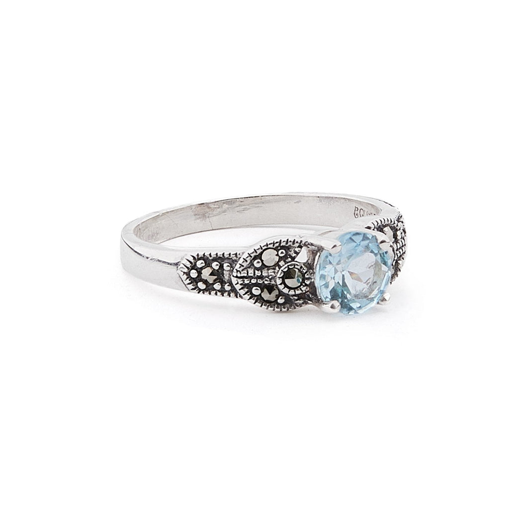 Eleanor: Art Deco Ring in Blue Topaz, Marcasite and Sterling Silver