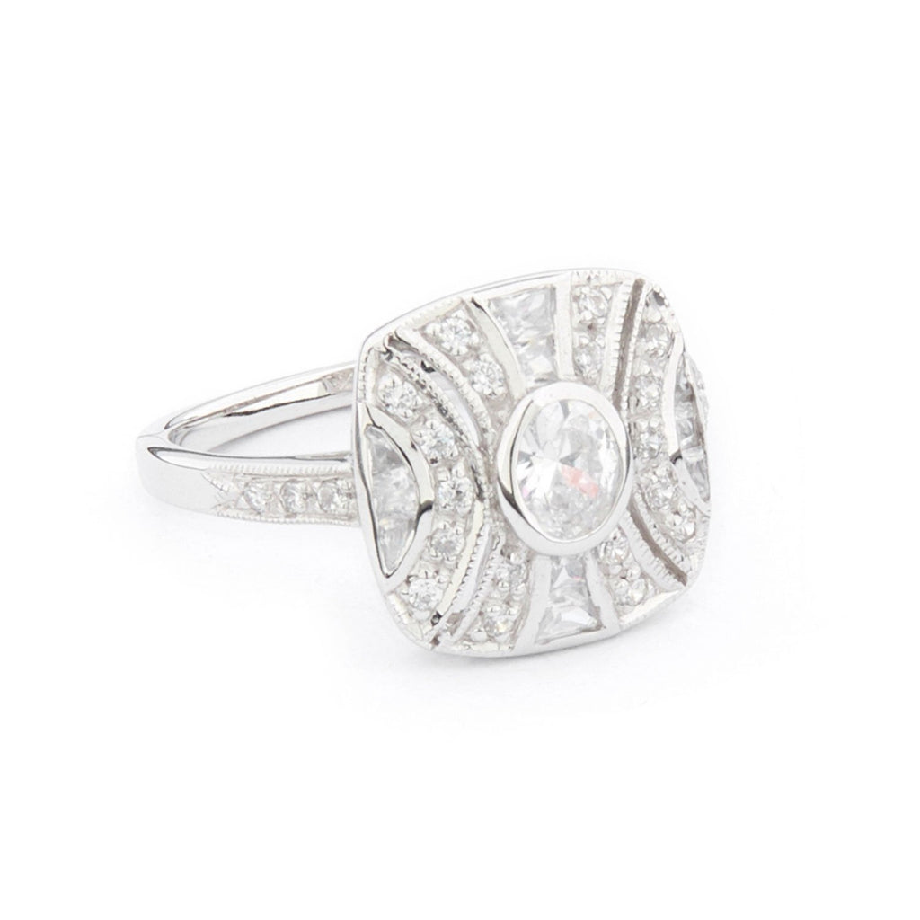 Wellington_&_North_Jewellery_Ava_Art_Deco_Cubic_Zirconia_925_Sterling_Silver_Ring_Side_View