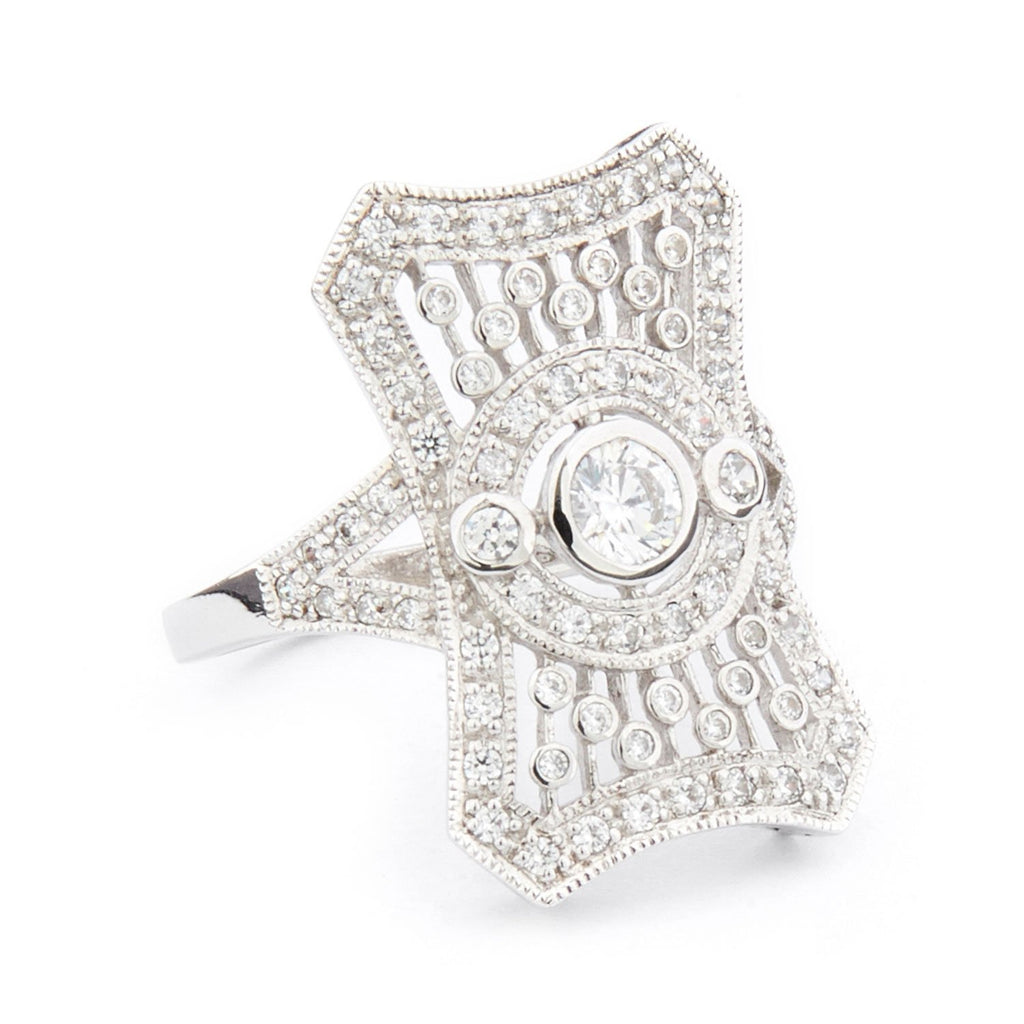 Wellington_&_North_Art_Deco_Judy_Jewellery_Cubic_Zirconia_925_Sterling_Silver_Cocktail_Ring_Side_View