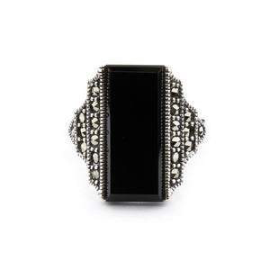Wellington_&_North_Jewellery_Frances_Art_Deco_Black_Onyx_Marcasite_925_Sterling_Silver_Ring_Front_View